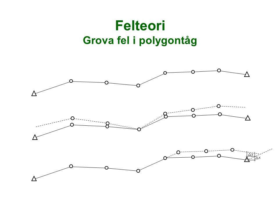 Felteori Grova fel i polygontåg x y