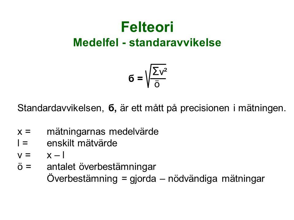 Standardavvikelsen, б, är ett mått på precisionen i mätningen. x =mätningarnas medelvärde l =enskilt mätvärde v =x – l ö =antalet överbestämningar Öve