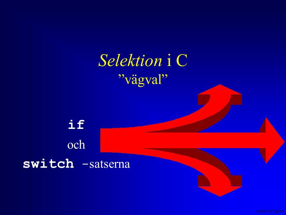 Anders Sjögren Selektion i C vägval if och switch - satserna