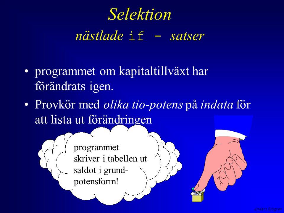 Anders Sjögren Selektion nästlade if - satser programmet om kapitaltillväxt har förändrats igen.