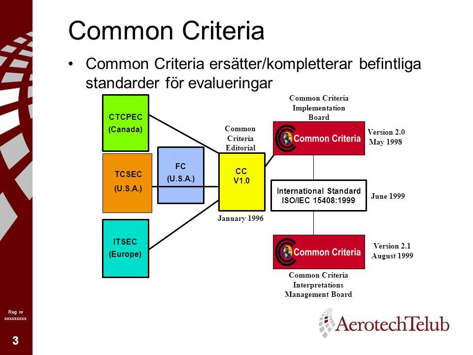 4 Reg nr xxxxxxxxx Common Criteria Common Criteria allmänt: –tillåter jämförelse av oberoende evalueringar –hanterar obehörig åtkomst (sekretess) obehörig modifiering (integritet) åsidosättande av funktion (tillgänglighet) spårning (loggning) –både praktisk och teoretisk