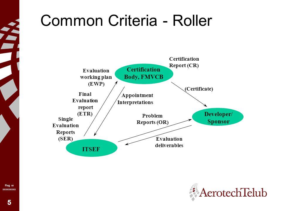 6 Reg nr xxxxxxxxx Common Criteria Evaluering enligt Common Criteria innebär följande –Granskning av utvecklarens kvalitetssystem, konfigurations- hantering (CM) och utvecklingsmiljö –Granskning av hur systemet/produkten hanteras och identifieras under utveckling, leverans och uppdatering