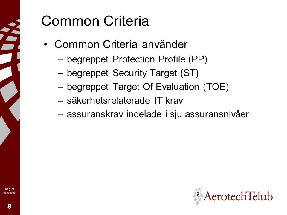 9 Reg nr xxxxxxxxx Common Criteria Protection Profile (PP) –En implementationsoberoende beskrivning av säkerhetsmål och krav för en kategori av produkter eller system – Beskriver vad som behövs/krävs! , inkluderande Hotbild Säkerhetsmål Antaganden på omgivning och användning Assuransnivå (EAL) och lägsta krävda nivå av skyddstyrka för mekanismer –Utgör en Säkerhetsmålsättning.