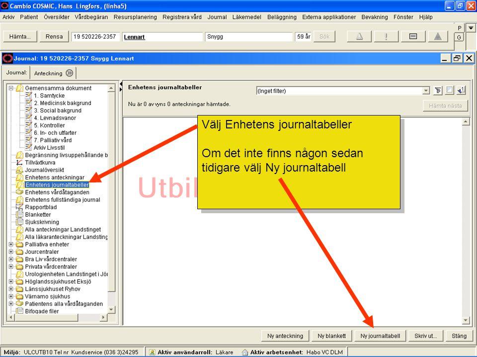 Välj Enhetens journaltabeller Om det inte finns någon sedan tidigare välj Ny journaltabell