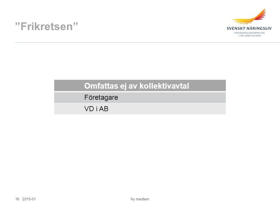 Frikretsen Omfattas ej av kollektivavtal Företagare VD i AB Ny medlem 2015-0116