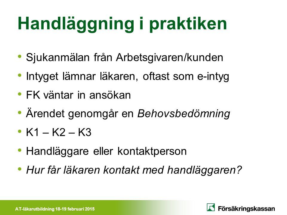 AT-läkarutbildning 18-19 februari 2015 Handläggning i praktiken Sjukanmälan från Arbetsgivaren/kunden Intyget lämnar läkaren, oftast som e-intyg FK vä