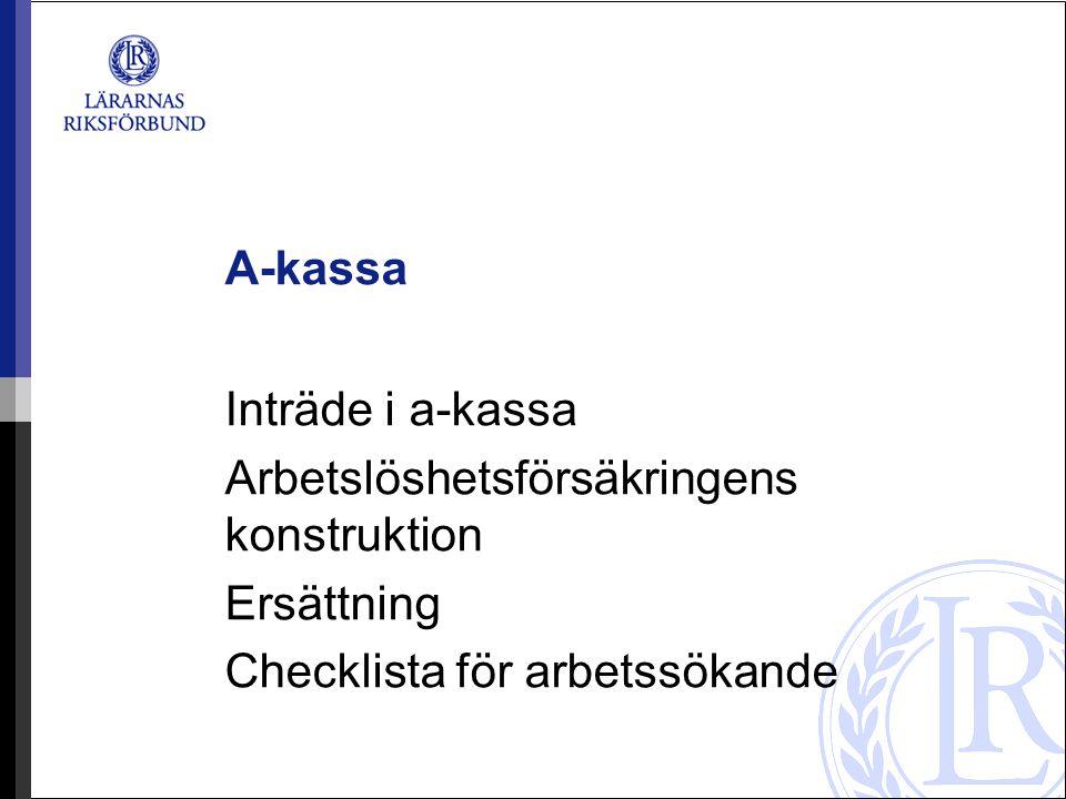 A-kassa Inträde i a-kassa Arbetslöshetsförsäkringens konstruktion Ersättning Checklista för arbetssökande