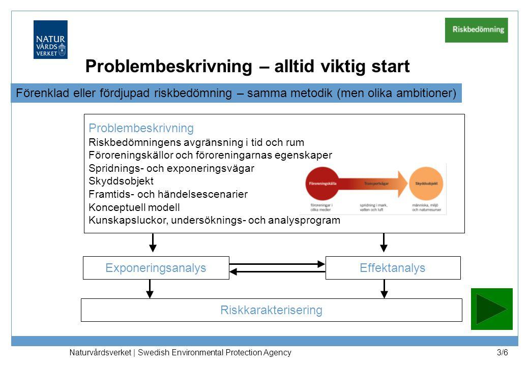 Naturvårdsverket | Swedish Environmental Protection Agency 3/6 Problembeskrivning Riskbedömningens avgränsning i tid och rum Föroreningskällor och föroreningarnas egenskaper Spridnings- och exponeringsvägar Skyddsobjekt Framtids- och händelsescenarier Konceptuell modell Kunskapsluckor, undersöknings- och analysprogram ExponeringsanalysEffektanalys Riskkarakterisering Problembeskrivning – alltid viktig start Förenklad eller fördjupad riskbedömning – samma metodik (men olika ambitioner)
