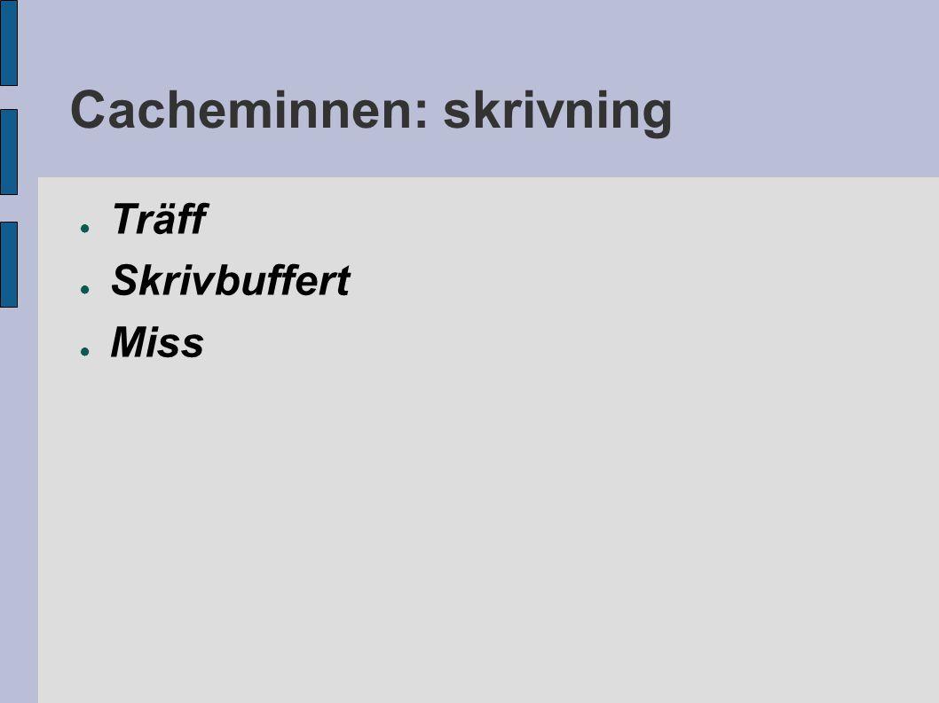 Cacheminnen: skrivning ● Träff ● Skrivbuffert ● Miss