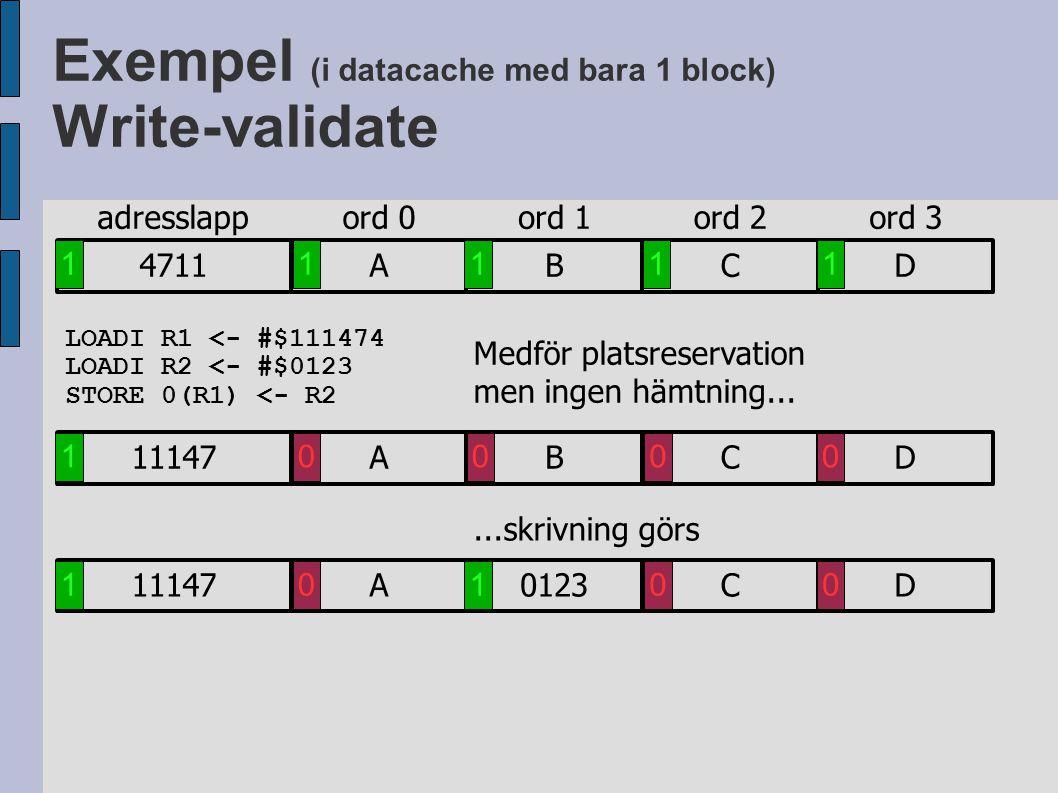 Exempel (i datacache med bara 1 block) Write-validate LOADI R1 <- #$111474 LOADI R2 <- #$0123 STORE 0(R1) <- R2 Medför platsreservation men ingen hämt