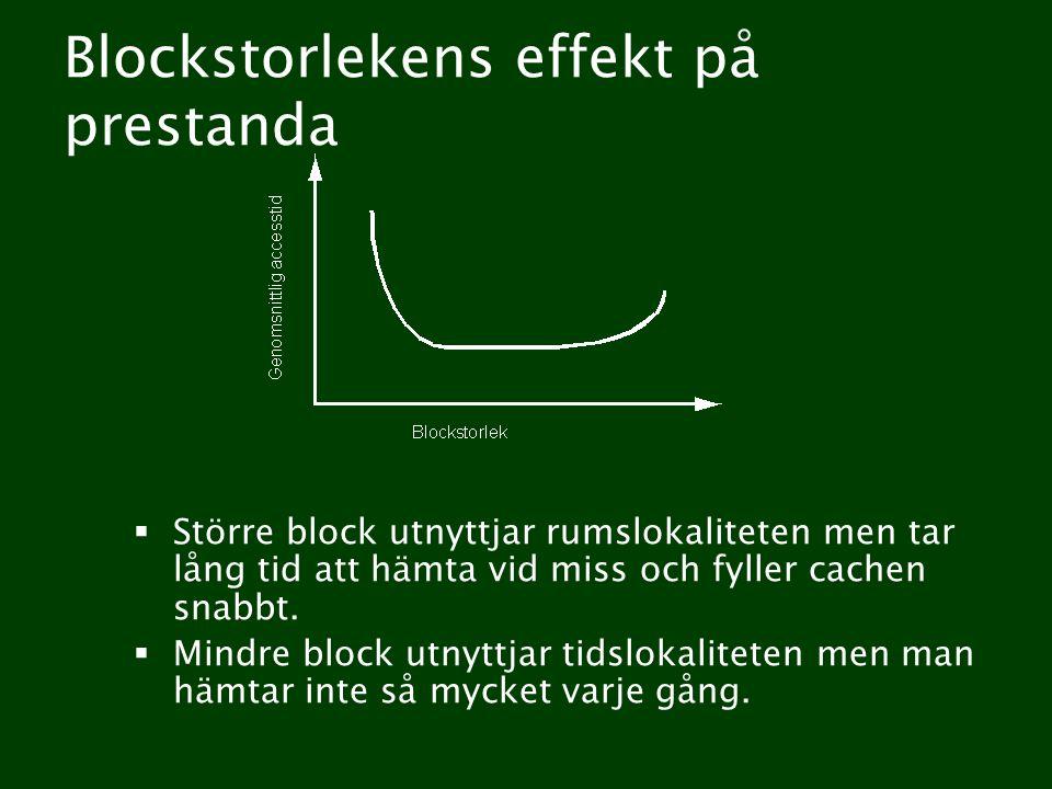 Blockstorlekens effekt på prestanda  Större block utnyttjar rumslokaliteten men tar lång tid att hämta vid miss och fyller cachen snabbt.
