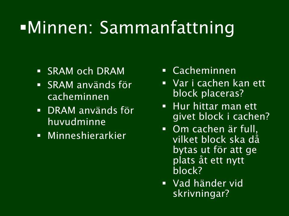  Minnen: Sammanfattning  SRAM och DRAM  SRAM används för cacheminnen  DRAM används för huvudminne  Minneshierarkier  Cacheminnen  Var i cachen