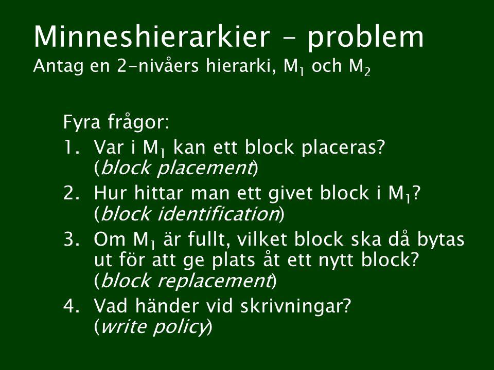 Minneshierarkier – problem Antag en 2-nivåers hierarki, M 1 och M 2 Fyra frågor: 1.Var i M 1 kan ett block placeras? (block placement) 2.Hur hittar ma