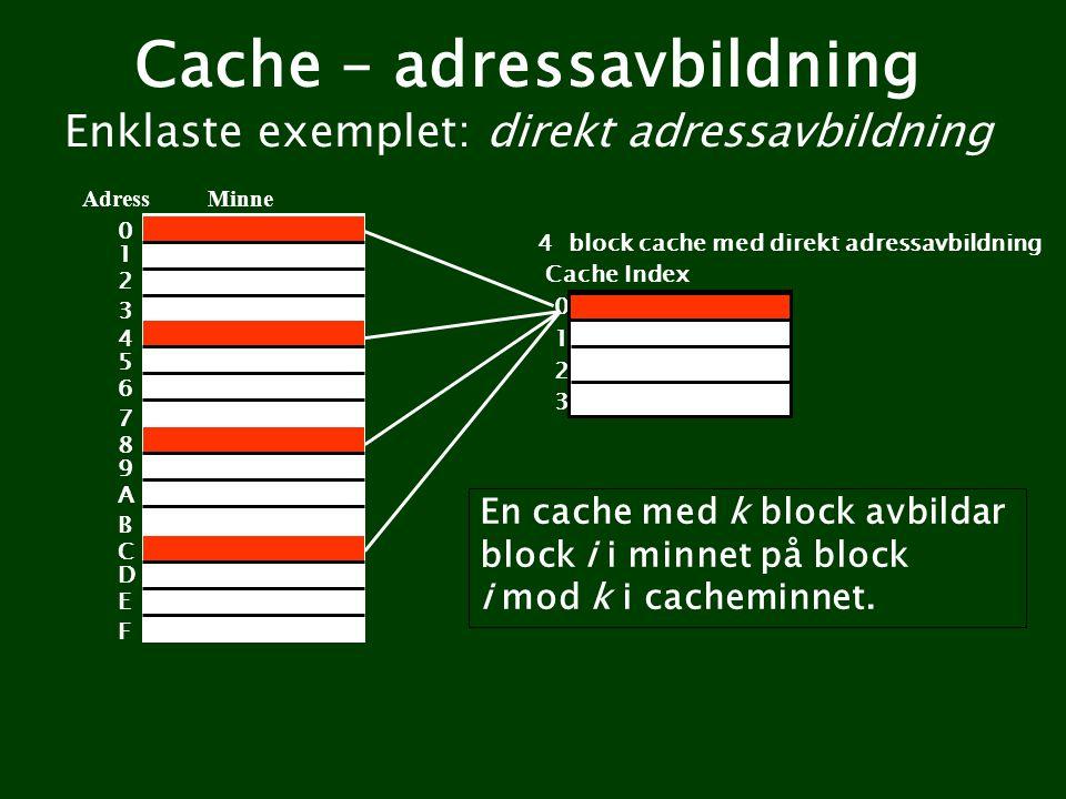 Cache – adressavbildning Enklaste exemplet: direkt adressavbildning Minne 4 block cache med direkt adressavbildning Adress 0 1 2 3 Cache Index 0 1 2 3 En cache med k block avbildar block i i minnet på block i mod k i cacheminnet.