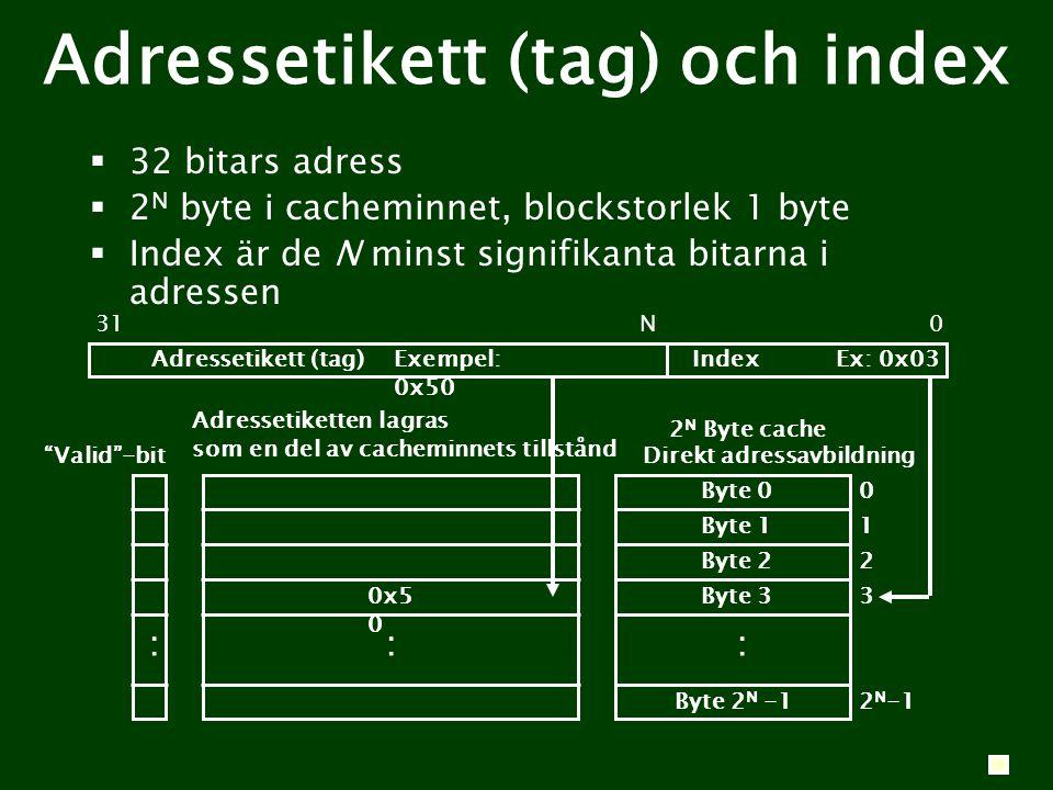 Adressetikett (tag) och index Ex: 0x03Exempel: 0x50 0x5 0 Index 0 1 2 3 2 N -1 : 2 N Byte cache Direkt adressavbildning Byte 0 Byte 1 Byte 2 Byte 3 Byte 2 N -1 0N31 : Adressetikett (tag) Adressetiketten lagras som en del av cacheminnets tillstånd Valid -bit :  32 bitars adress  2 N byte i cacheminnet, blockstorlek 1 byte  Index är de N minst signifikanta bitarna i adressen
