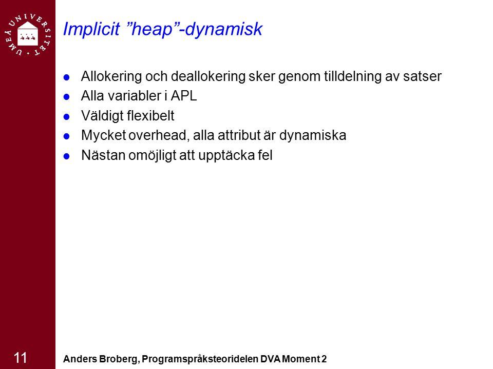 """Anders Broberg, Programspråksteoridelen DVA Moment 2 11 Implicit """"heap""""-dynamisk Allokering och deallokering sker genom tilldelning av satser Alla var"""