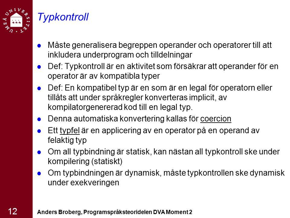 Anders Broberg, Programspråksteoridelen DVA Moment 2 12 Typkontroll Måste generalisera begreppen operander och operatorer till att inkludera underprog