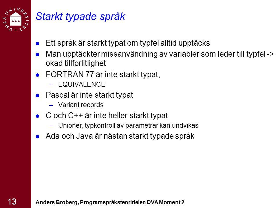 Anders Broberg, Programspråksteoridelen DVA Moment 2 13 Starkt typade språk Ett språk är starkt typat om typfel alltid upptäcks Man upptäckter missanv