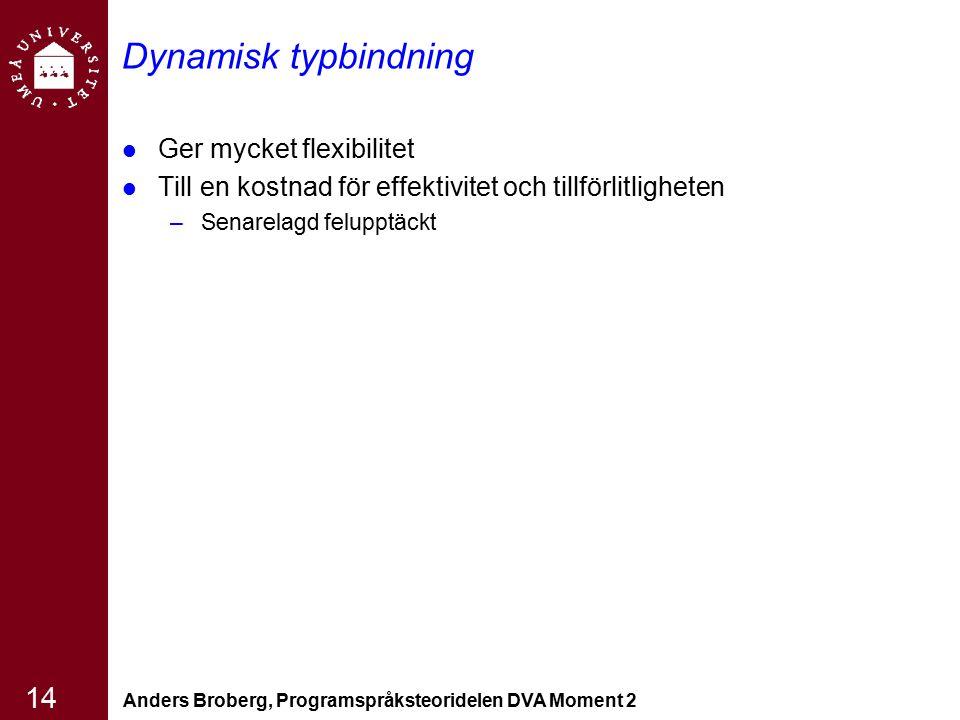 Anders Broberg, Programspråksteoridelen DVA Moment 2 14 Dynamisk typbindning Ger mycket flexibilitet Till en kostnad för effektivitet och tillförlitli