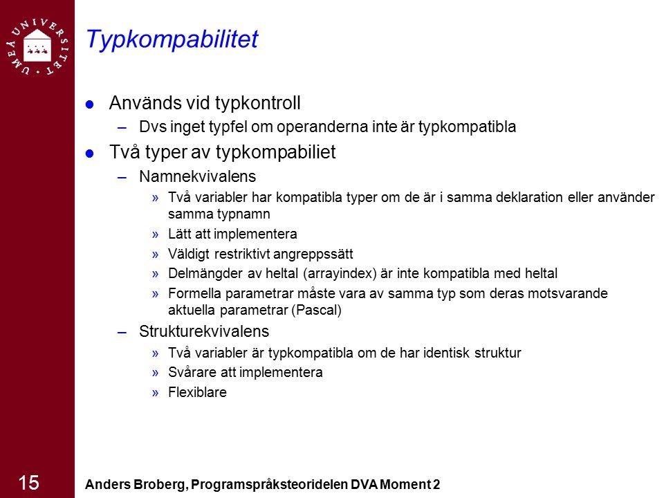 Anders Broberg, Programspråksteoridelen DVA Moment 2 15 Typkompabilitet Används vid typkontroll –Dvs inget typfel om operanderna inte är typkompatibla
