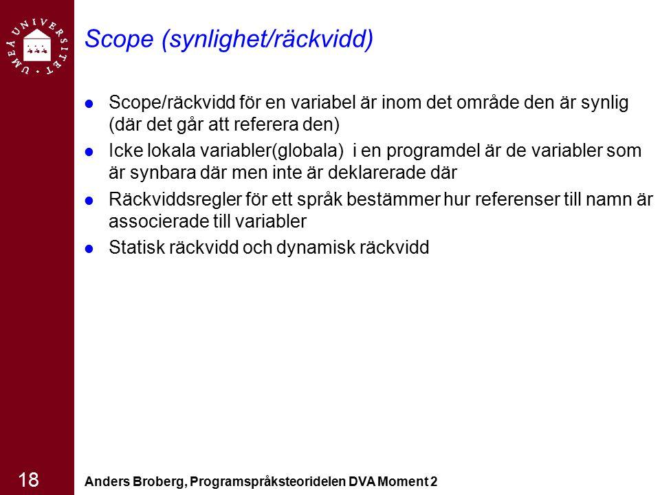 Anders Broberg, Programspråksteoridelen DVA Moment 2 18 Scope (synlighet/räckvidd) Scope/räckvidd för en variabel är inom det område den är synlig (dä