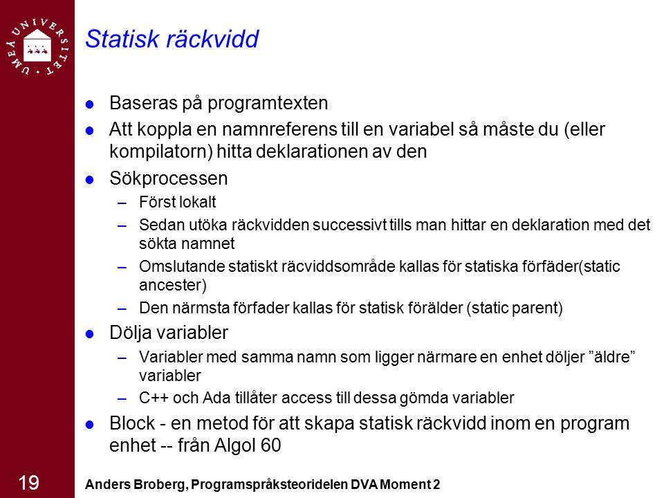 Anders Broberg, Programspråksteoridelen DVA Moment 2 19 Statisk räckvidd Baseras på programtexten Att koppla en namnreferens till en variabel så måste