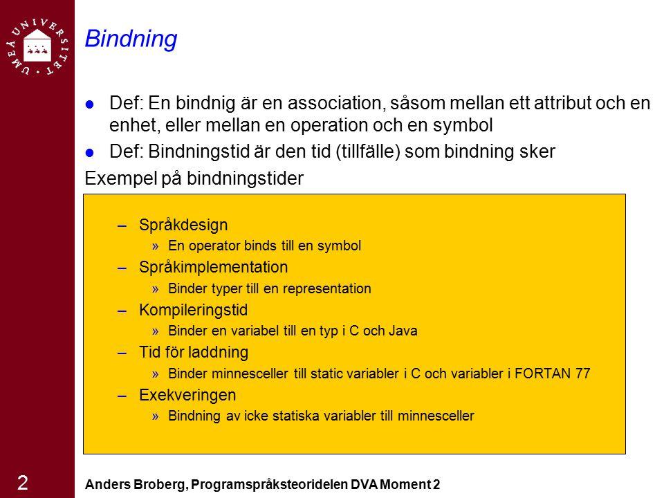 Anders Broberg, Programspråksteoridelen DVA Moment 2 13 Starkt typade språk Ett språk är starkt typat om typfel alltid upptäcks Man upptäckter missanvändning av variabler som leder till typfel -> ökad tillförlitlighet FORTRAN 77 är inte starkt typat, –EQUIVALENCE Pascal är inte starkt typat –Variant records C och C++ är inte heller starkt typat –Unioner, typkontroll av parametrar kan undvikas Ada och Java är nästan starkt typade språk