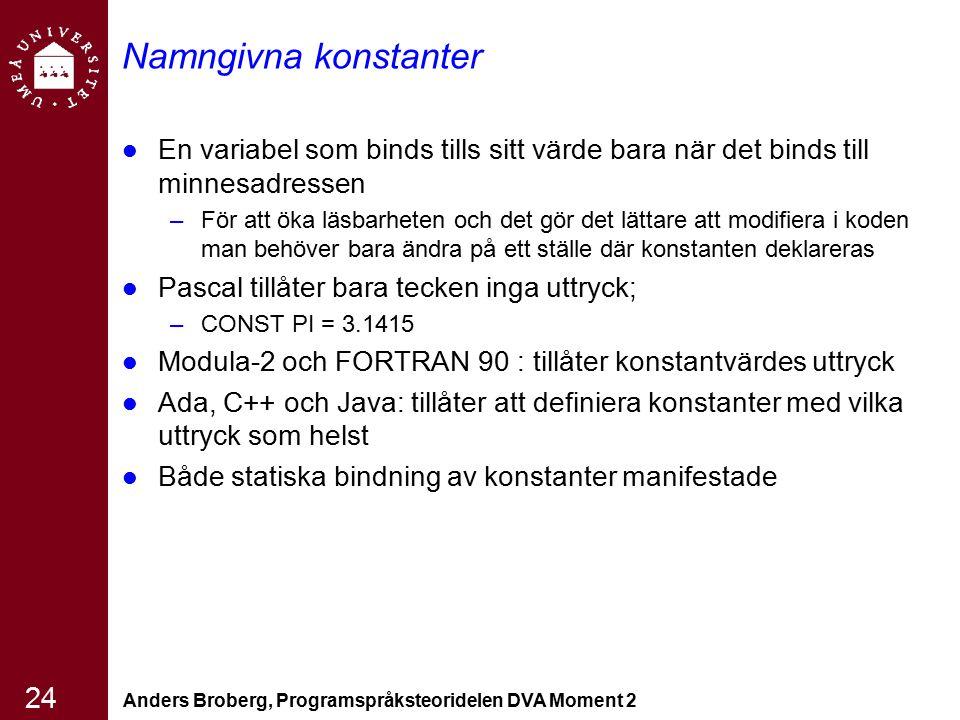 Anders Broberg, Programspråksteoridelen DVA Moment 2 24 Namngivna konstanter En variabel som binds tills sitt värde bara när det binds till minnesadre