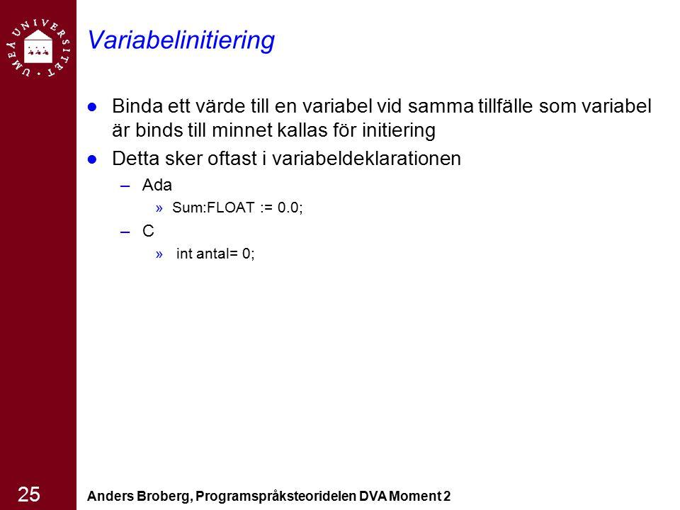 Anders Broberg, Programspråksteoridelen DVA Moment 2 25 Variabelinitiering Binda ett värde till en variabel vid samma tillfälle som variabel är binds