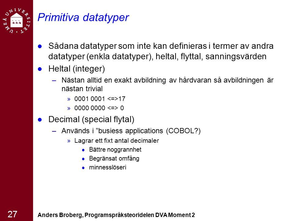 Anders Broberg, Programspråksteoridelen DVA Moment 2 27 Primitiva datatyper Sådana datatyper som inte kan definieras i termer av andra datatyper (enkl