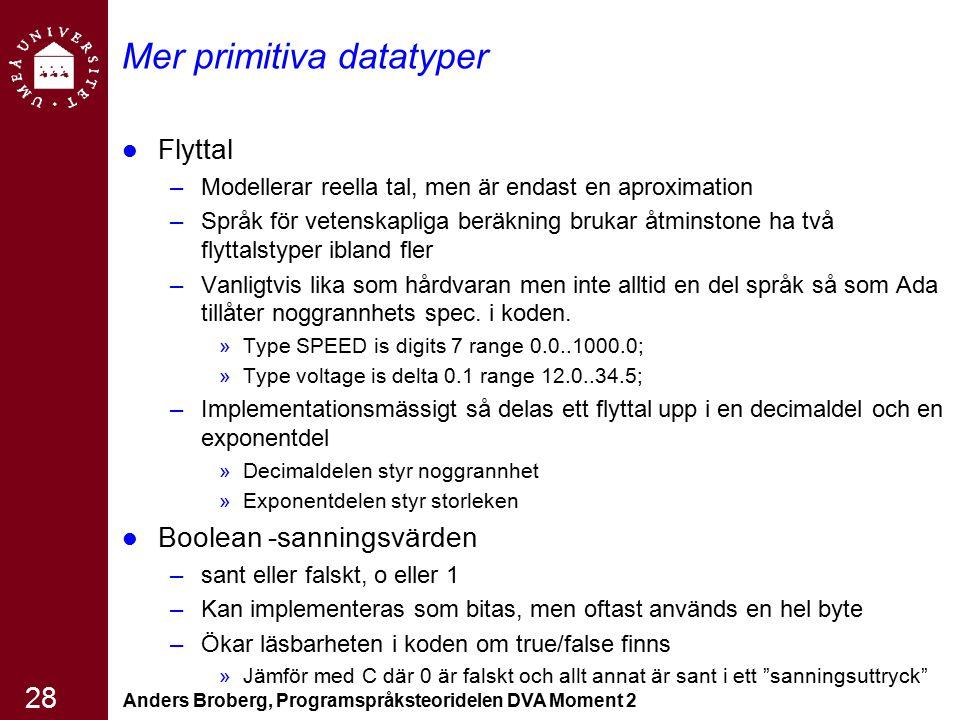 Anders Broberg, Programspråksteoridelen DVA Moment 2 28 Mer primitiva datatyper Flyttal –Modellerar reella tal, men är endast en aproximation –Språk f