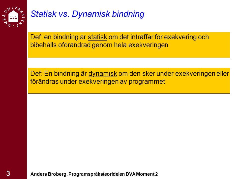 Anders Broberg, Programspråksteoridelen DVA Moment 2 24 Namngivna konstanter En variabel som binds tills sitt värde bara när det binds till minnesadressen –För att öka läsbarheten och det gör det lättare att modifiera i koden man behöver bara ändra på ett ställe där konstanten deklareras Pascal tillåter bara tecken inga uttryck; –CONST PI = 3.1415 Modula-2 och FORTRAN 90 : tillåter konstantvärdes uttryck Ada, C++ och Java: tillåter att definiera konstanter med vilka uttryck som helst Både statiska bindning av konstanter manifestade