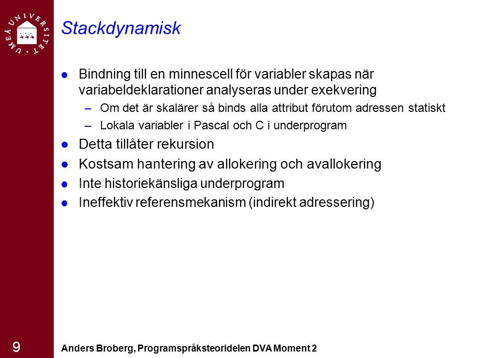 Anders Broberg, Programspråksteoridelen DVA Moment 2 10 Explicit heap -dynamisk Heap --högen är en samling med minnesceller som inte är så organiserade eftersom dess användning inte är förutsägbar Explicit allokering deallokering av celler från heapen Specificerad av programmeraren Bindnigen sker under exekveringen Namnlösa variabler Stödjer dynamisk minneshantering Ineffektiv och osäker stor risk för svåra fel/bugar