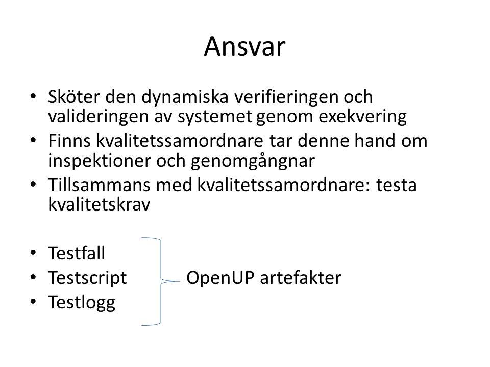 Planera OpenUP missar vikten av att planera testning Testning måste planeras och schemaläggas i projektplan och interationsplaner Testresultat måste sammanfattas och slutsatser dras i status assessments för iterationerna Ha viss distans till det man testar personligen