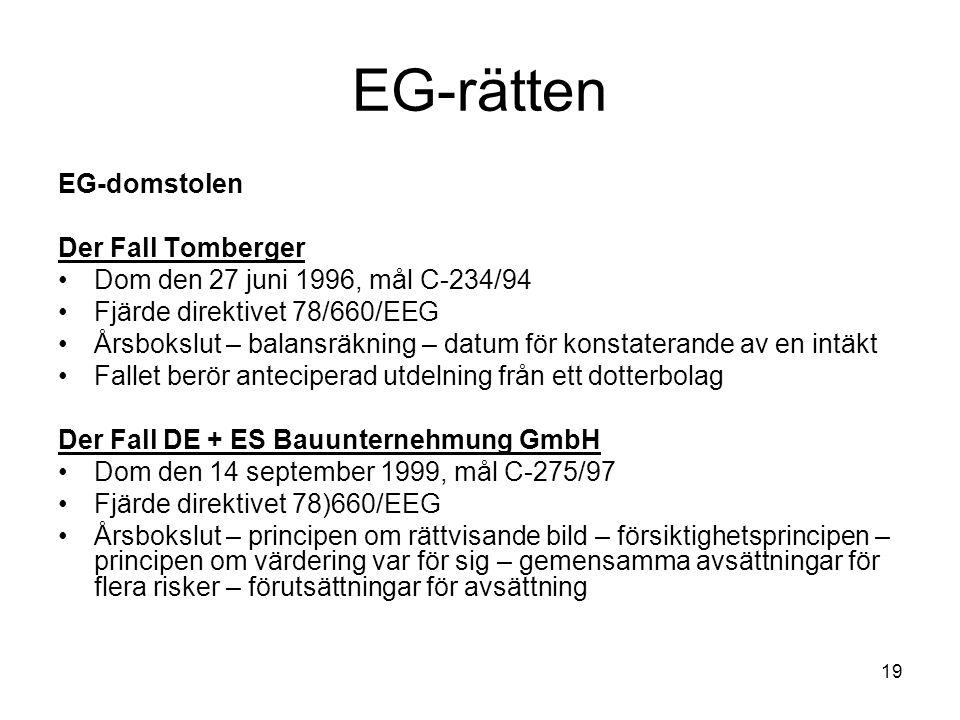 19 EG-rätten EG-domstolen Der Fall Tomberger Dom den 27 juni 1996, mål C-234/94 Fjärde direktivet 78/660/EEG Årsbokslut – balansräkning – datum för ko