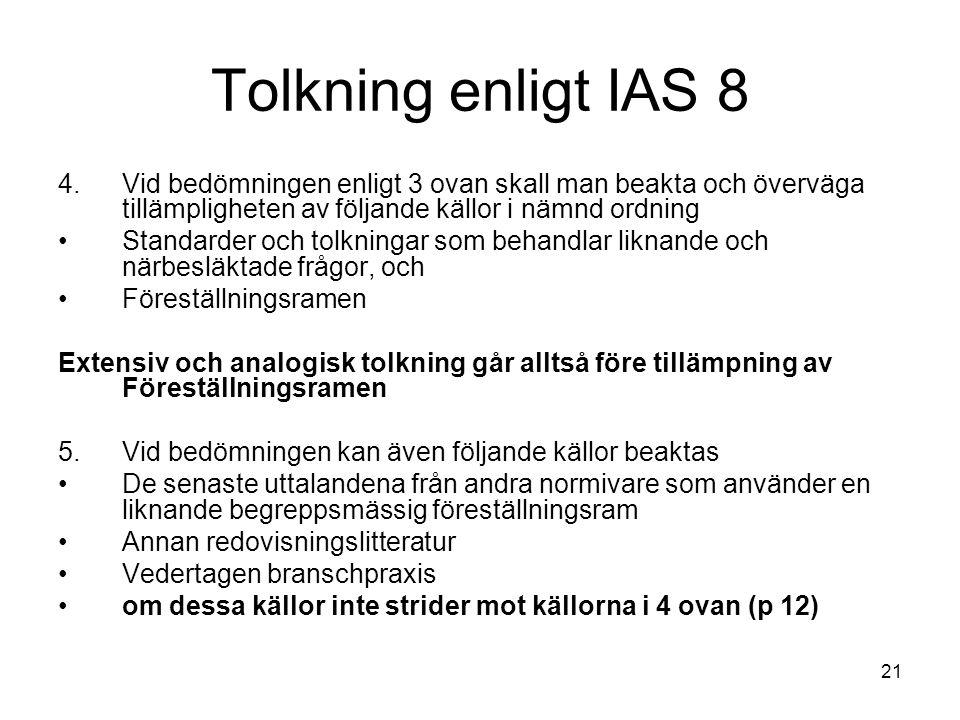 21 Tolkning enligt IAS 8 4.Vid bedömningen enligt 3 ovan skall man beakta och överväga tillämpligheten av följande källor i nämnd ordning Standarder o