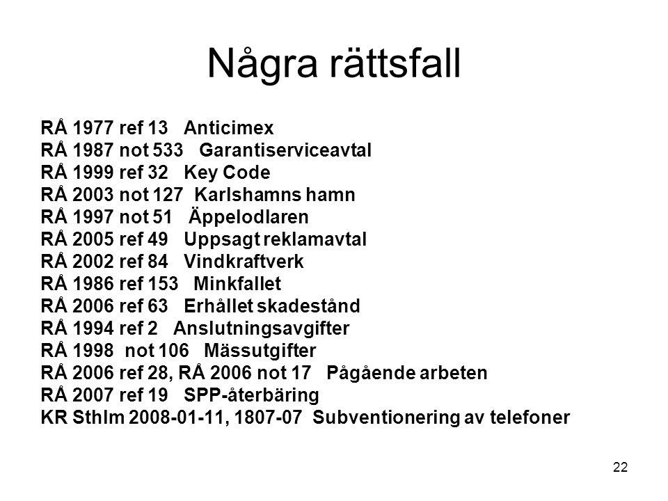 22 Några rättsfall RÅ 1977 ref 13 Anticimex RÅ 1987 not 533 Garantiserviceavtal RÅ 1999 ref 32 Key Code RÅ 2003 not 127 Karlshamns hamn RÅ 1997 not 51