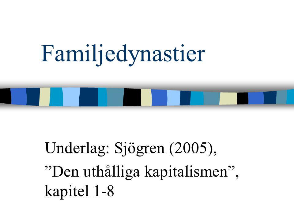 """Familjedynastier Underlag: Sjögren (2005), """"Den uthålliga kapitalismen"""", kapitel 1-8"""