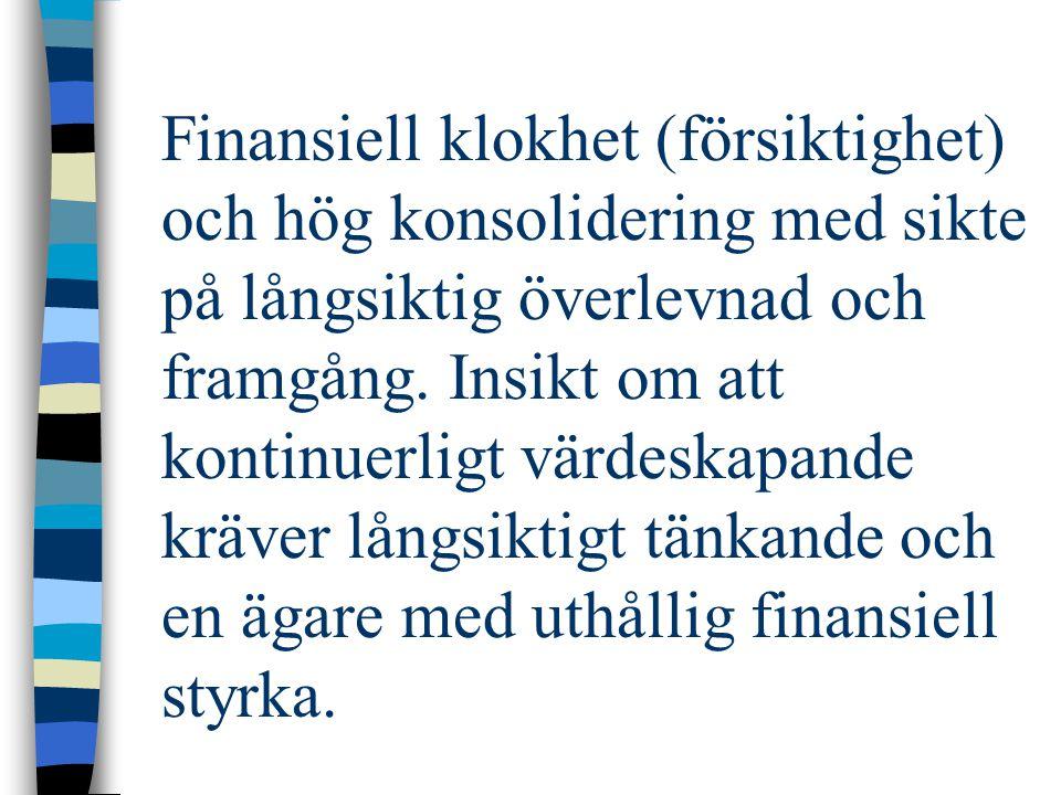 Finansiell klokhet (försiktighet) och hög konsolidering med sikte på långsiktig överlevnad och framgång. Insikt om att kontinuerligt värdeskapande krä