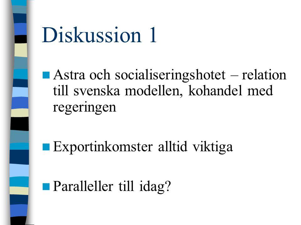 Diskussion 1 Astra och socialiseringshotet – relation till svenska modellen, kohandel med regeringen Exportinkomster alltid viktiga Paralleller till i