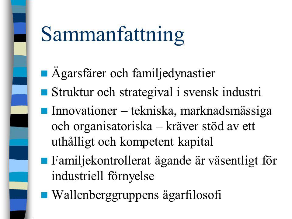 Sammanfattning Ägarsfärer och familjedynastier Struktur och strategival i svensk industri Innovationer – tekniska, marknadsmässiga och organisatoriska