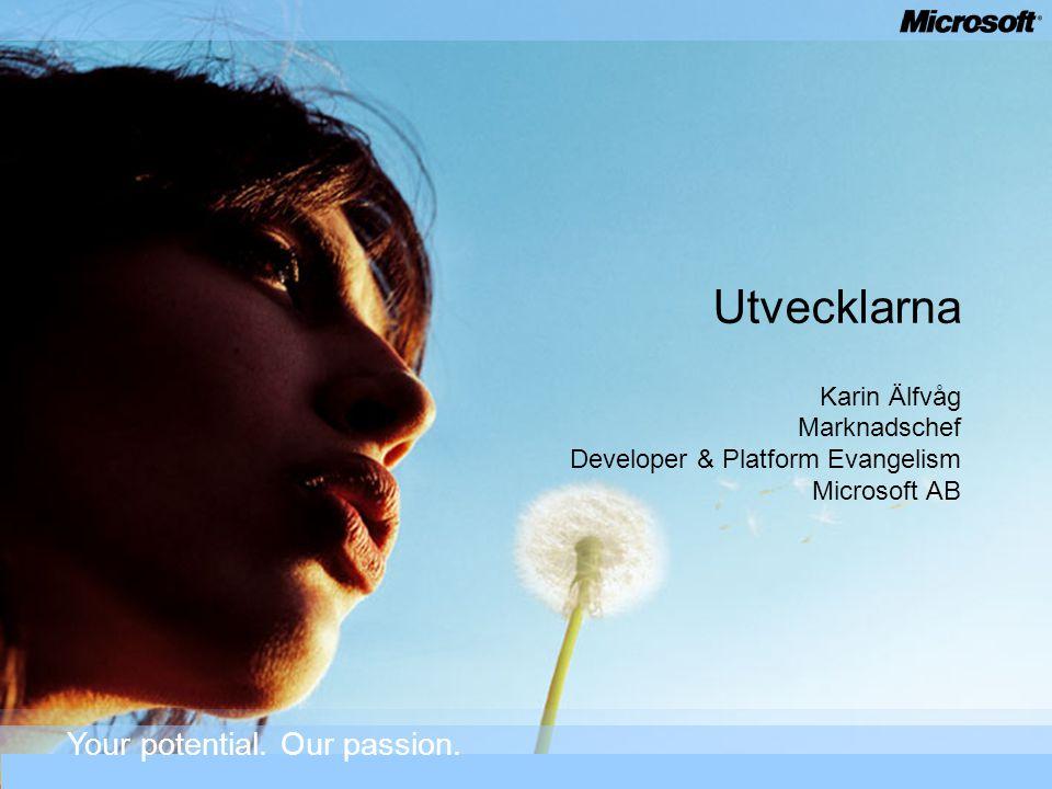 Utvecklarna Karin Älfvåg Marknadschef Developer & Platform Evangelism Microsoft AB Your potential. Our passion.