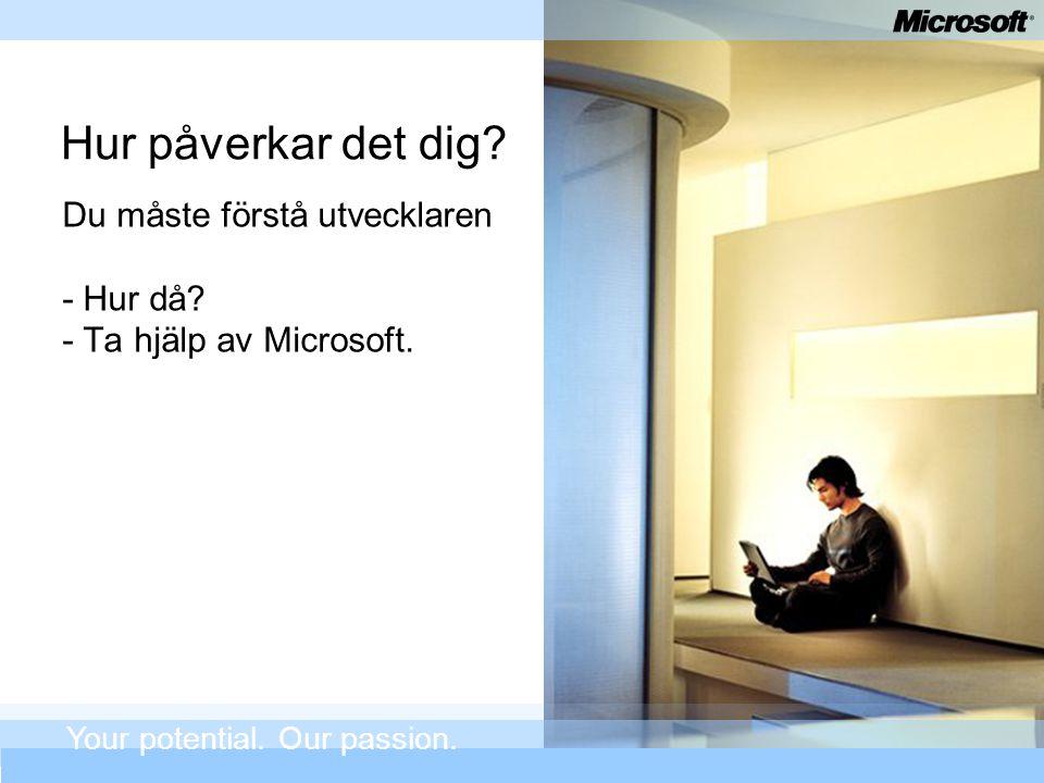Hur påverkar det dig? Du måste förstå utvecklaren - Hur då? - Ta hjälp av Microsoft. Your potential. Our passion.