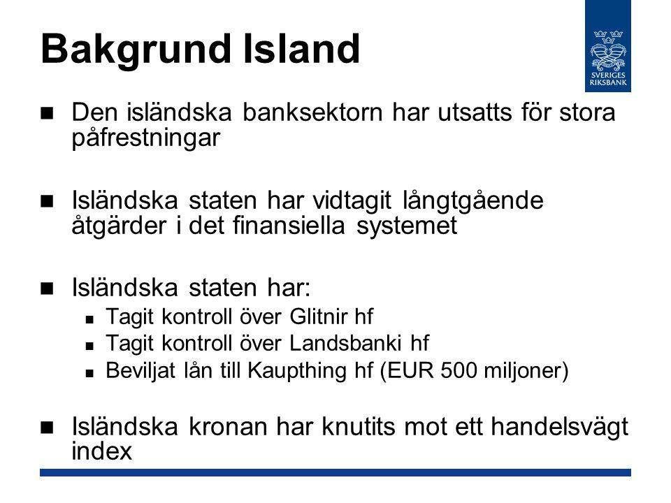 Bakgrund Island Den isländska banksektorn har utsatts för stora påfrestningar Isländska staten har vidtagit långtgående åtgärder i det finansiella systemet Isländska staten har: Tagit kontroll över Glitnir hf Tagit kontroll över Landsbanki hf Beviljat lån till Kaupthing hf (EUR 500 miljoner) Isländska kronan har knutits mot ett handelsvägt index