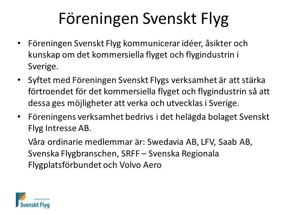 Föreningen Svenskt Flyg Föreningen Svenskt Flyg kommunicerar idéer, åsikter och kunskap om det kommersiella flyget och flygindustrin i Sverige.