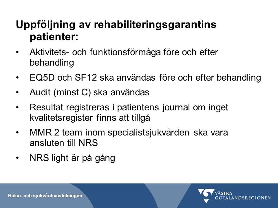 Hälso- och sjukvårdsavdelningen Uppföljning av rehabiliteringsgarantins patienter: Aktivitets- och funktionsförmåga före och efter behandling EQ5D och