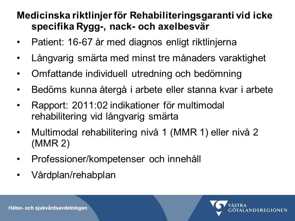 Hälso- och sjukvårdsavdelningen Medicinska riktlinjer för Rehabiliteringsgaranti vid icke specifika Rygg-, nack- och axelbesvär Patient: 16-67 år med
