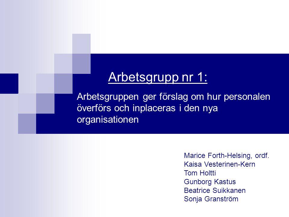 Arbetsgrupp nr 1: Arbetsgruppen ger förslag om hur personalen överförs och inplaceras i den nya organisationen Marice Forth-Helsing, ordf. Kaisa Veste
