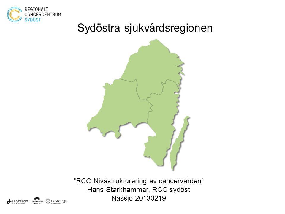 """""""RCC Nivåstrukturering av cancervården"""" Hans Starkhammar, RCC sydöst Nässjö 20130219 Sydöstra sjukvårdsregionen"""