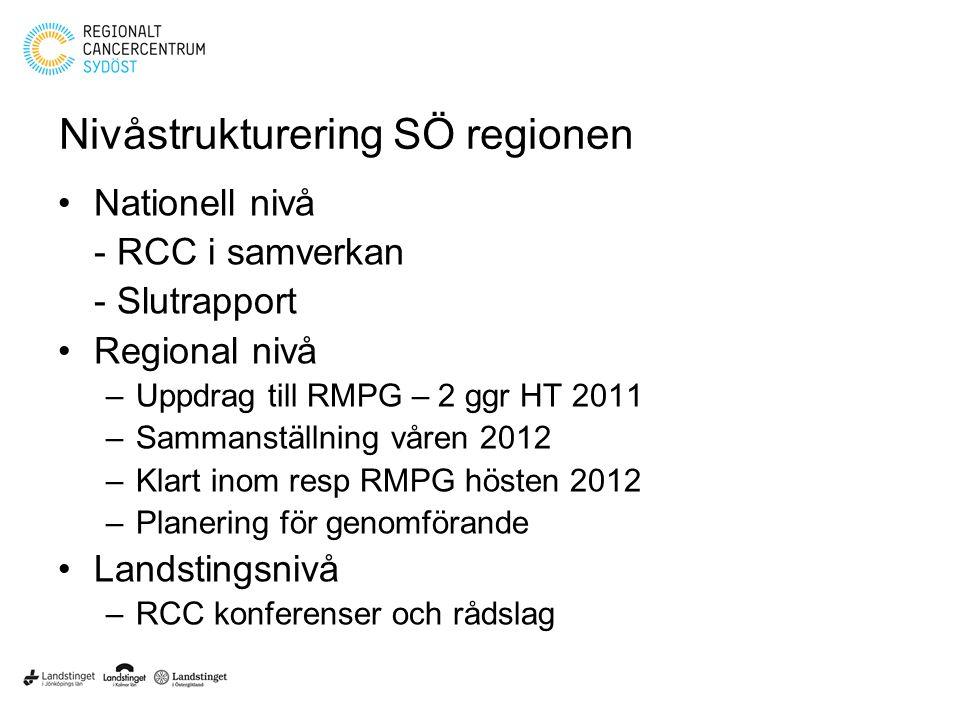 Nivåstrukturering SÖ regionen Nationell nivå - RCC i samverkan - Slutrapport Regional nivå –Uppdrag till RMPG – 2 ggr HT 2011 –Sammanställning våren 2